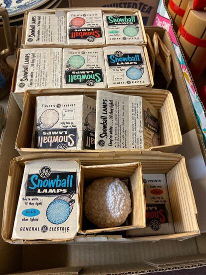 Vintage GE snowball Christmas bulbs