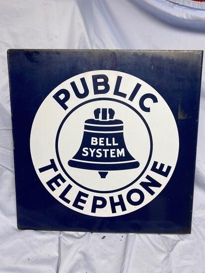 Porcelain Public Telephone bell system sign
