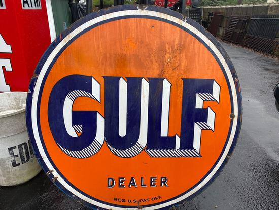 Porcelain Gulf sign - double sided - 66inches