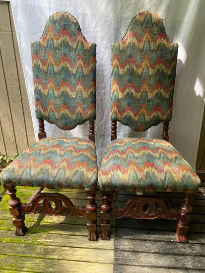 """Pair high back chairs w/ Chevron upholstery, 48"""" tall."""