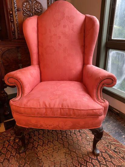 "Queen Ann high back upholstered arm chair, 53"" tall."