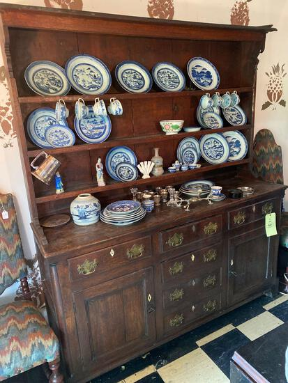 """18th Century Welsh 2-pc. open hutch, 65"""" wide x 76"""" tall."""