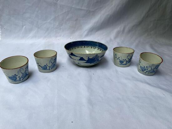 """Early Chinese 7"""" dia. bowl & (4) cups."""