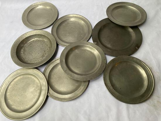 (9) Old pewter plates.