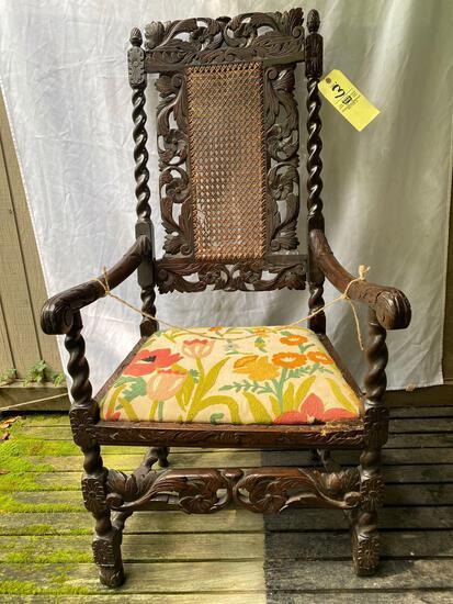 "18th Century Jacobean hand carved arm chair, 49"" tall."