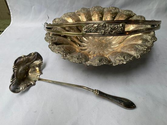 """Silver plated 13"""" dia. Basket & sterling handled silverplate ladle."""