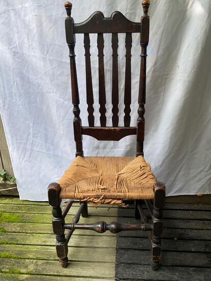 "Antique rush seat chair, 44.5"" tall."
