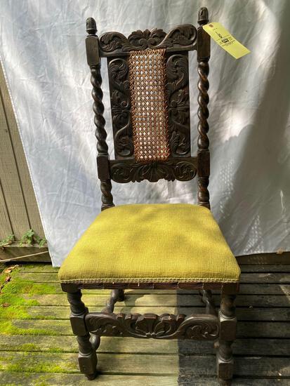 "Jacobean carved chair, 45"" tall."
