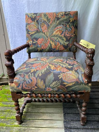 "Antique Tudor style arm chair w/ mermaid carved girl & boy on arms, 38"" tall."