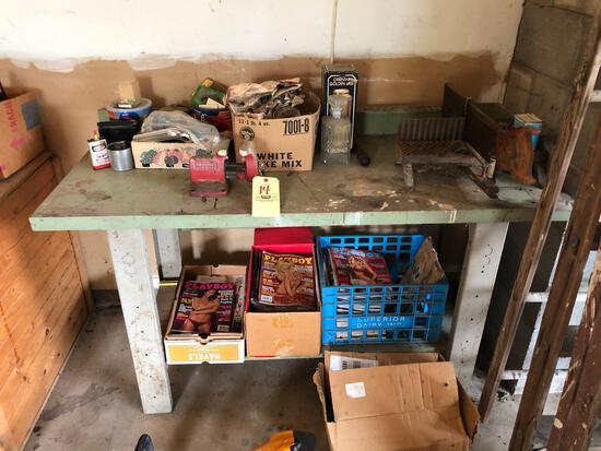 Workbench, vise, hardware, magazines