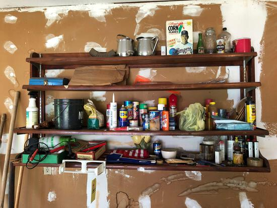 Contents on garage shelf