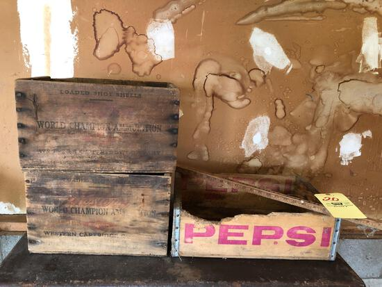 Wood ammo crates, Pepsi crate, yard stick