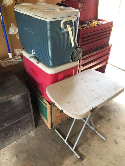 Coolers, 2 ft. folding table