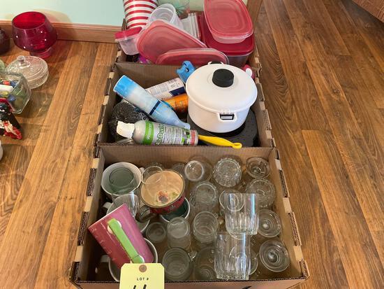 Glassware, Tupperware, cleaners