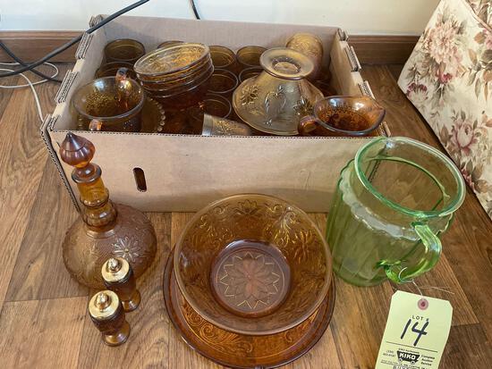 Amber glassware, depression green pitcher