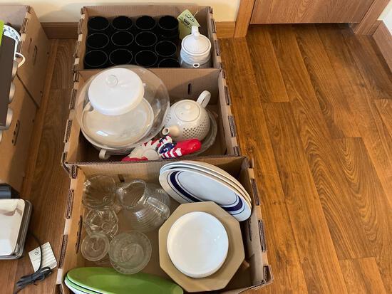 Dishes, glasses, teapot
