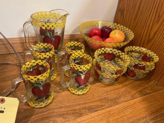 Apple pattern juice set with bowls