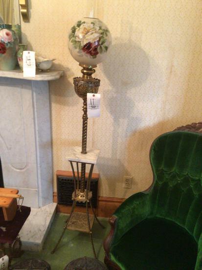 Ornate oil floor lamp