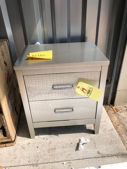 New Ashley Furniture silver colored nightstand (tax)