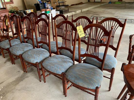 Cherry Dinning Table (12) Upholstered cherry dining chairs