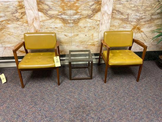 (2) Mid-Century Modern Chairs and End Table