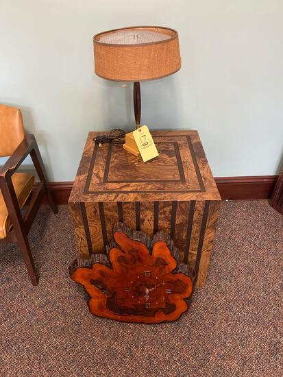 End Table, Lamp, Clock