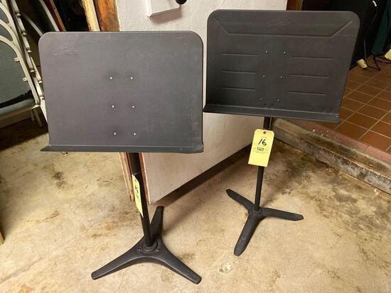 Pair metal sheet music stands.