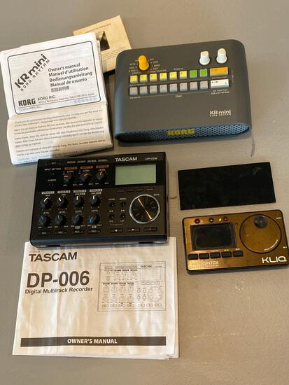Tascam DP-006 digital multitrack recorder, Korg rhythm, Klio metropitch digital tuner metronome.