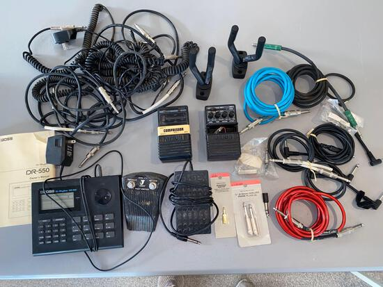 Boss Dr. Rhythm DR-550, guitar cables, keyboard foot switches, etc.