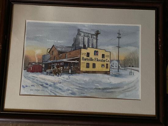 """Tom Mayer (OWS) original watercolor of """"Hartville Elevator Co."""" 30.5"""" x 24"""" frame."""