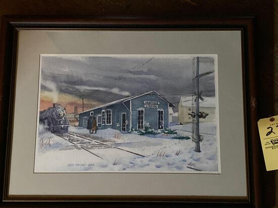"Tom Mayer (OWS) original watercolor of Hartville train station, 30.5"" x 24"" frame."