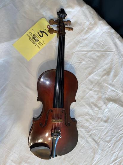 "Antonius Stradivarius copy violin, 22"" long."