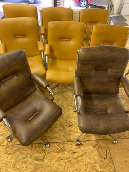 Set of eight swivel office chairs, bid times eight.