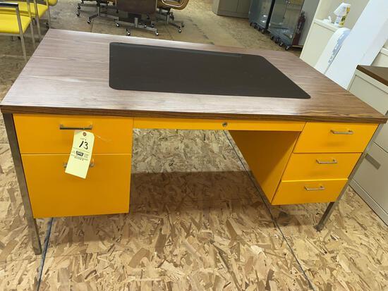 Steelcase desk w/ six drawers, 5' x 3'.