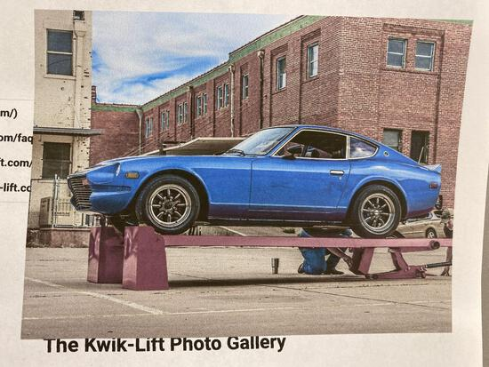 Kwik-Lift w/ owner made custom accessories, 5,000 lb. capacity. Car in picture not included.