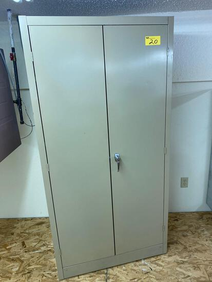 Metal 2-door storage cabinet, 6' x 3'.
