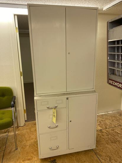 """2-Pc. Metal cabinet, 72"""" tall x 30.5"""" wide, on wheels."""