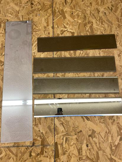 (4) Plate glass mirrors, 44 x 10 & 29.5 x 6 sizes.
