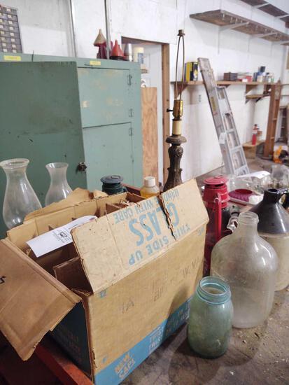 Oil Lamps, Lanterns, Crock Jug and Jars