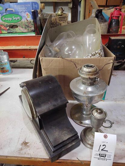 Mantle Clock, Oil Lamps and Chimneys