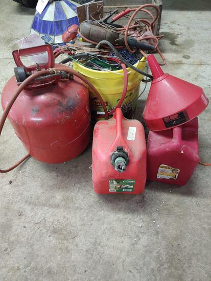 Air Tank, Gas Cans, Cords and wire