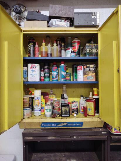 Metal Cabinet w/ assorted cleaners