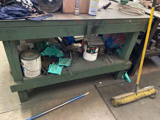 Wood work bench 30in by 56in with steel plate top