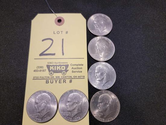 (6) Bicentennial Eisenhower Dollars