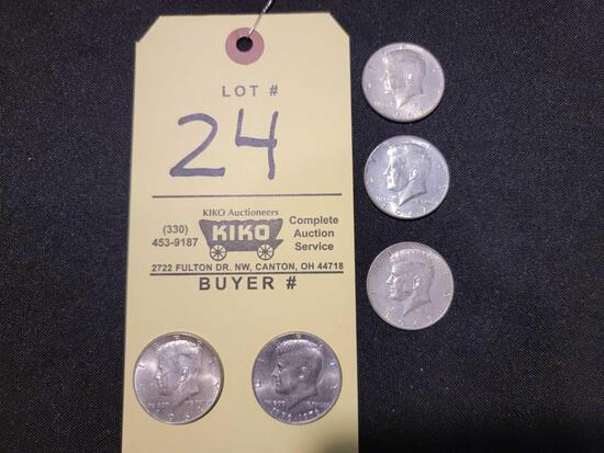 1964, '65, '67, and '76 Kennedy Half Dollars
