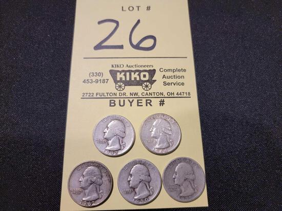 (5) Washington Silver Quarters