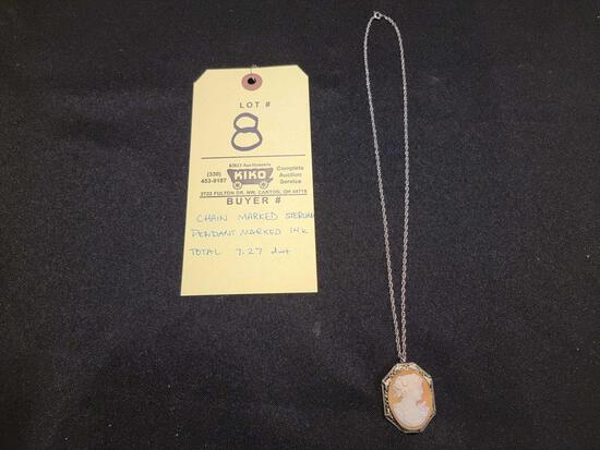 Sterling Necklace with Cameo Style 14kt Pendant