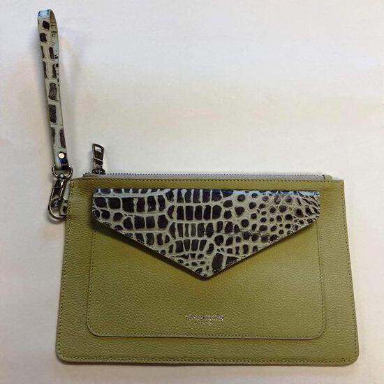 Fashion purse/clutch - Pastel green with leopard.