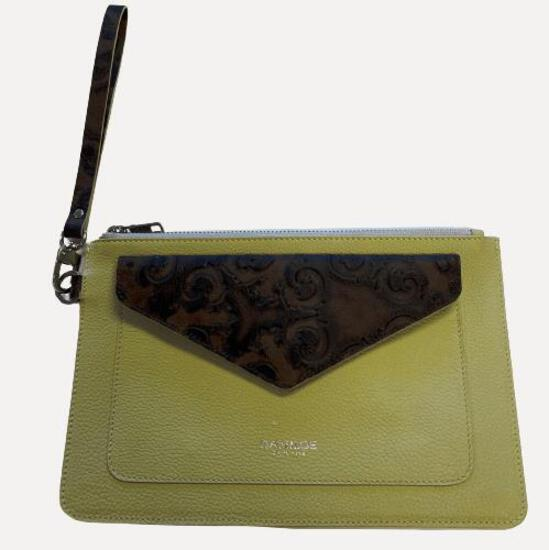 Fashion purse/clutch - Pastel Green with Brown