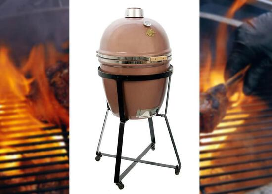 Kamado grill dome large copper finish with stand